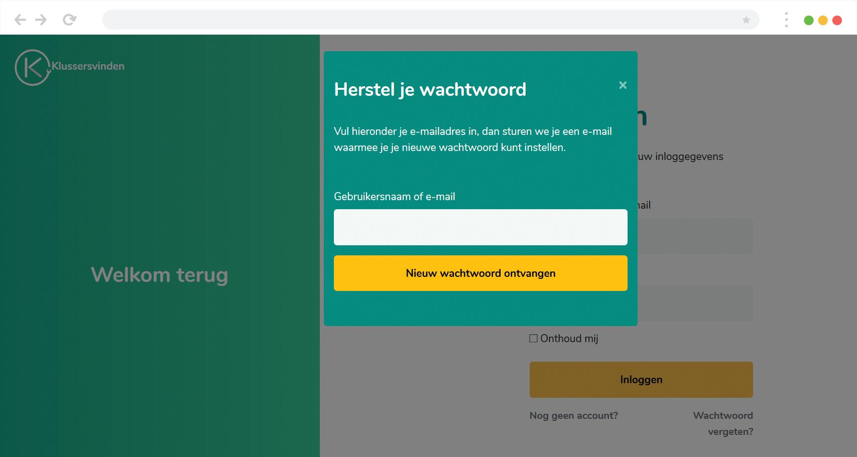 Screenshot wachtwoord vergeten klussersvinden.nl