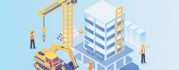 Grafische afbeelding van constructiewerkzaamheden
