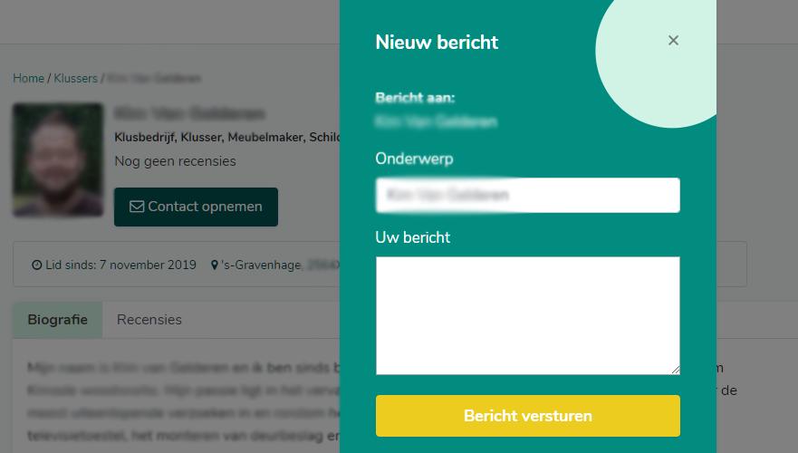 Screenshot van het contactformulier die gebruikt wordt om een klusser te contacteren.