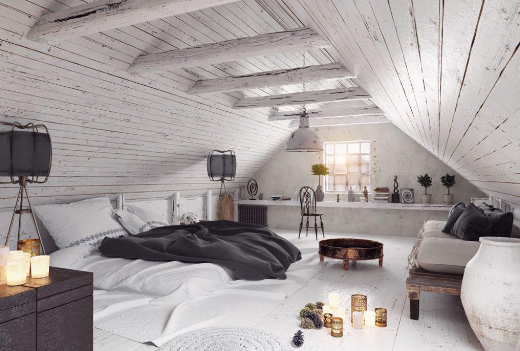 Zolder die verbouwd is tot een slaapkamer.