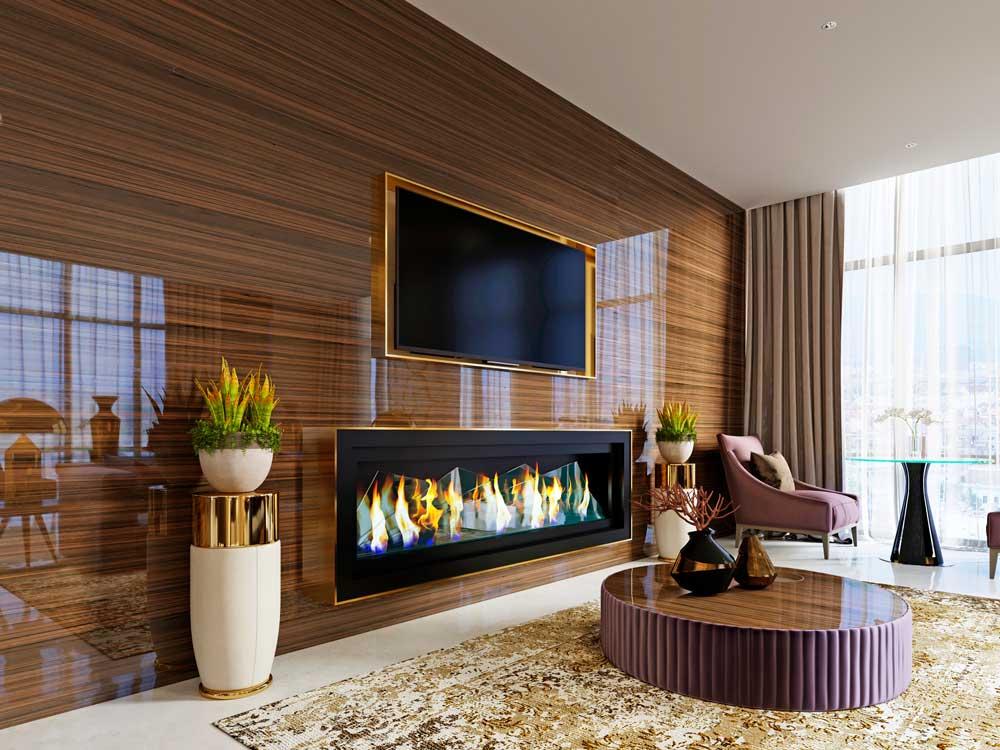 Cinewall met een houten muur